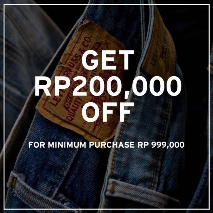 Levi's Promo Potongan Rp. 200.000 Setiap Pembelian Minimal Rp. 999.000
