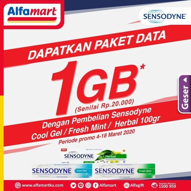 Diskon Alfamart Promo Gratis Paket Data 1 GB Telkomsel Setiap Pembelian Sensodyne