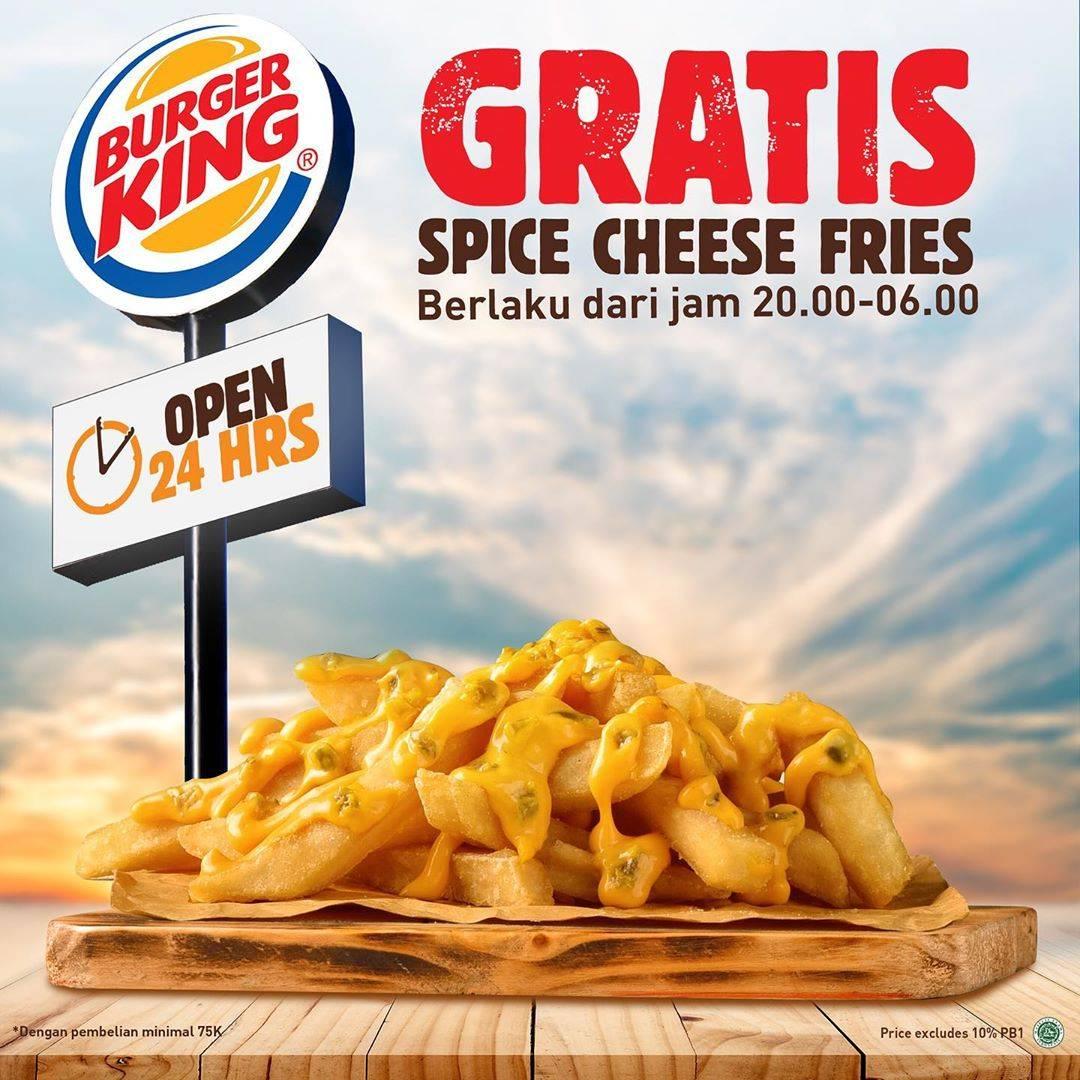 Burger King Promo Gratis Spice Cheese Fries Setiap Minimum Pembelian Rp. 75.000