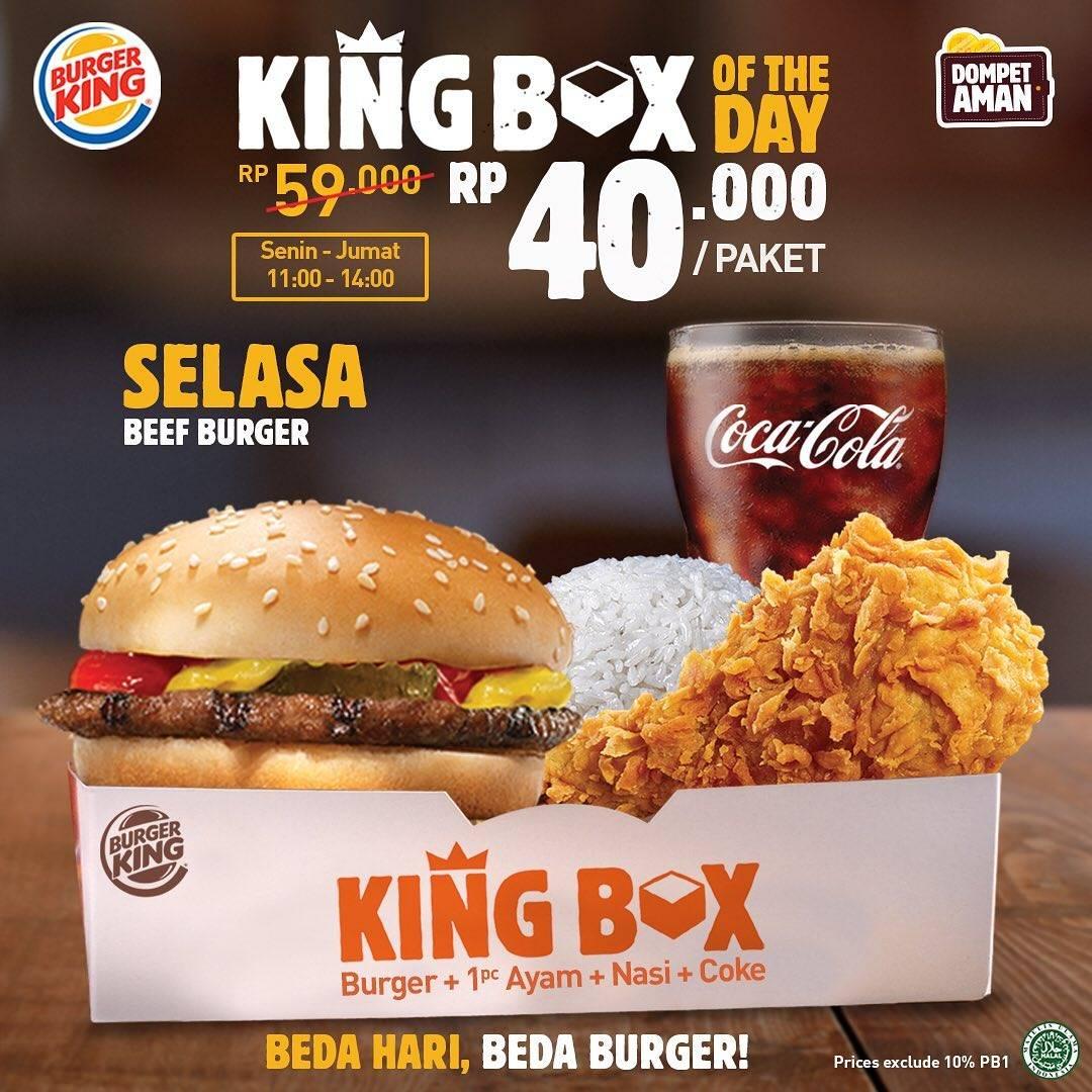 Burger King Promo King Box Of The Day Hanya Rp. 40.000/Paket