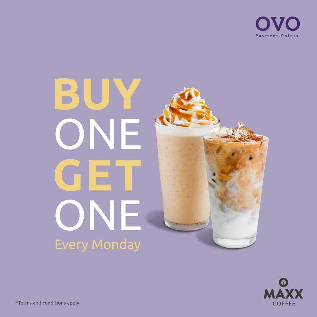 Maxx Coffee Promo Buy 1 Get 1 Transaksi Menggunakan OVO Cash