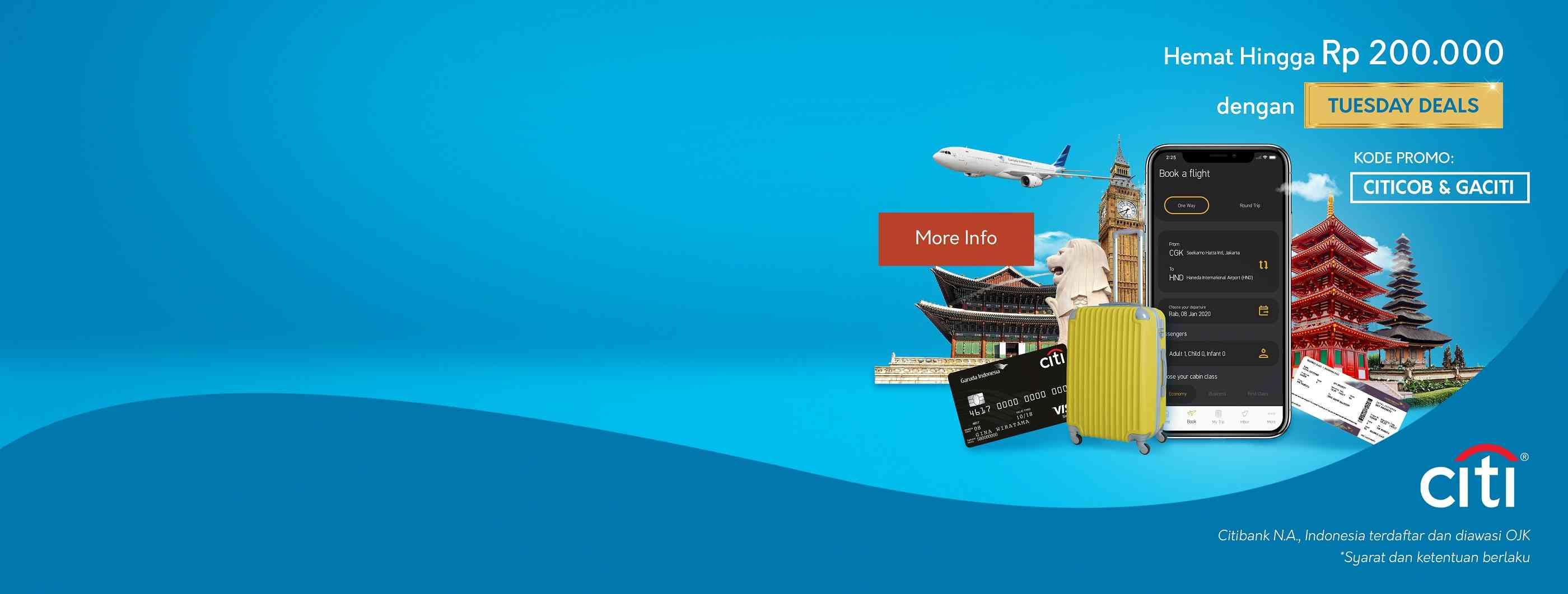 Garuda Indonesia Promo Hemat Hingga Rp. 200.000 Dengan Tuesday Deals Dari Citibank