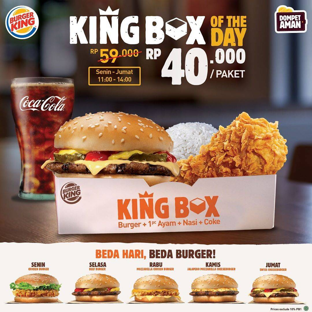 Burger King Promo King Box Of The Day Hanya Rp. 40.000/Paket