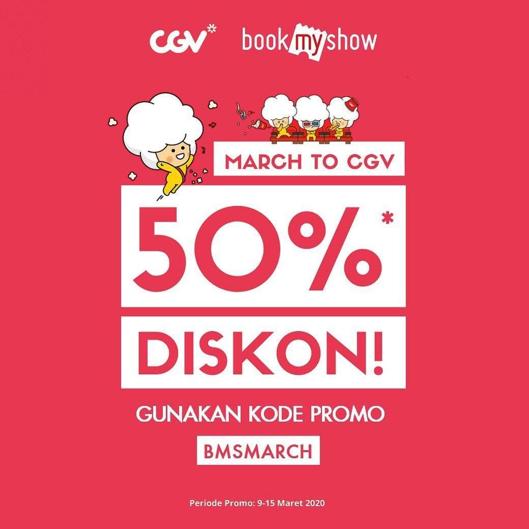 CGV Promo Diskon 50% Pembelian Melalui Aplikasi BookMyShow