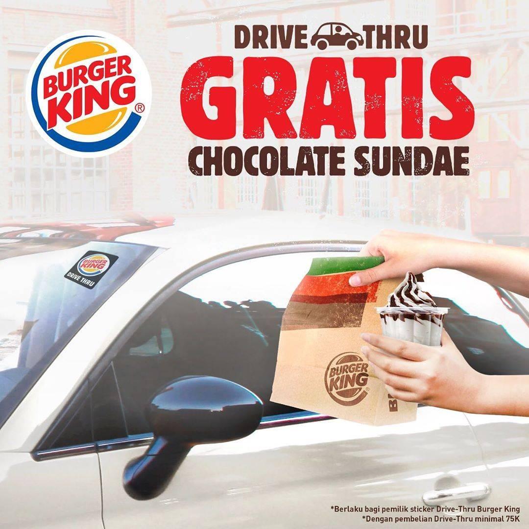 Diskon Burger King Promo Gratis Chocolate Sundae Setiap Pemesanan Drive Thru