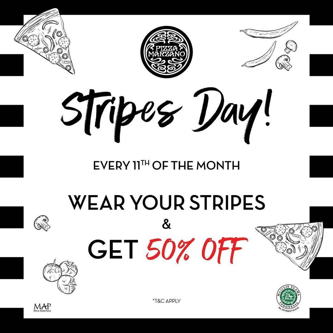Pizza Marzano Promo Stripes Day, Discount 50% Off