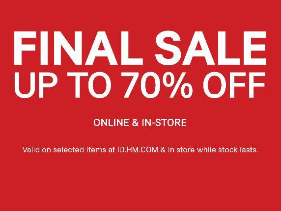 Diskon H&M Promo Finale Sale Up To 70% Off