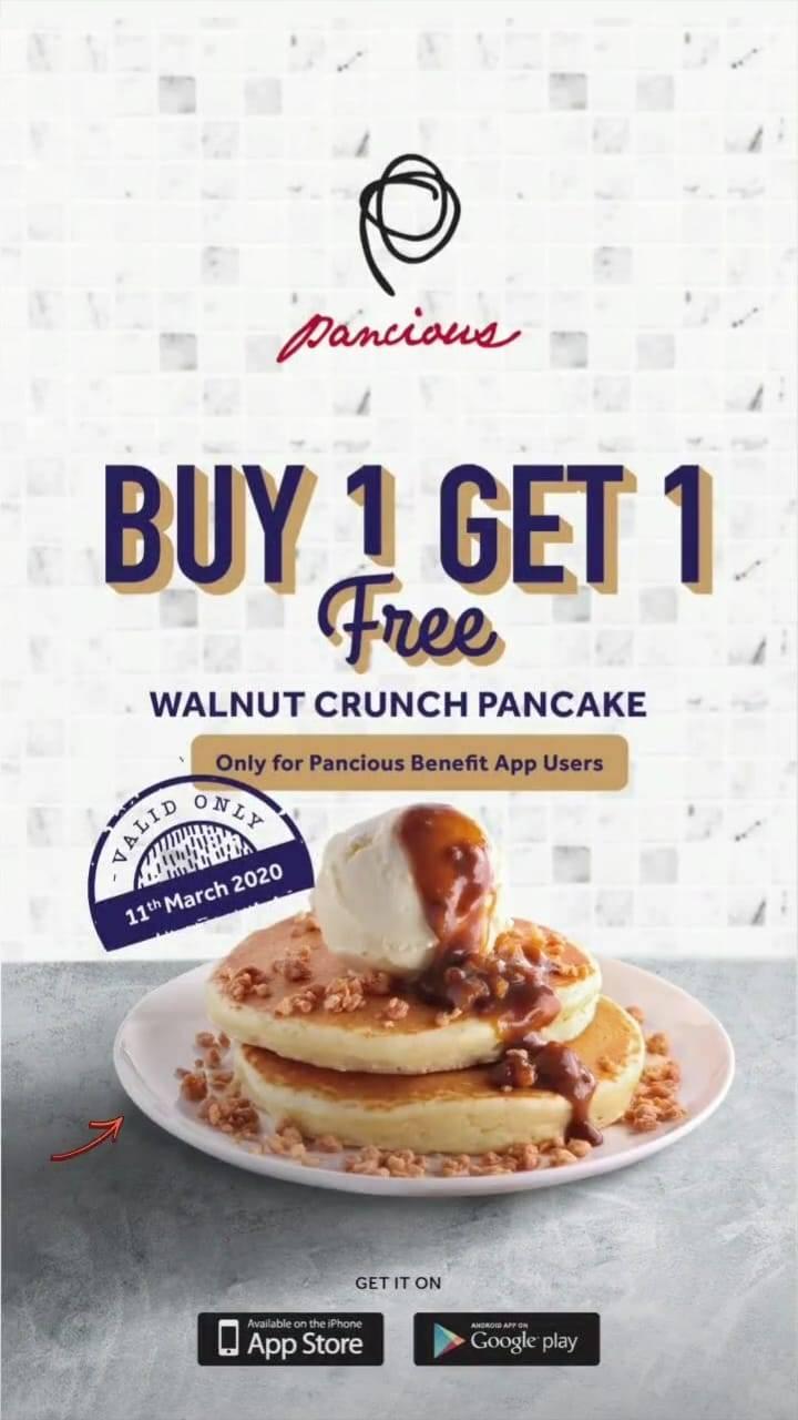 Pancious Promo Buy 1 Get 1 Free Walnut Crunch Pancake