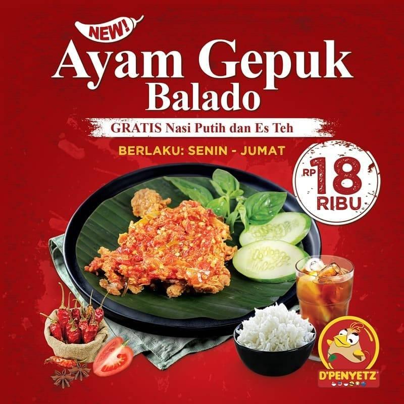 D'Penyetz Promo Gratis Nasi Dan Es Teh Setiap Pembelian Ayam Gepuk Balado
