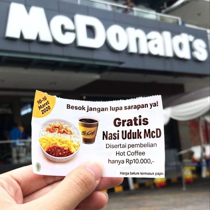 McDonalds Promo Kupon Gratis Nasi Uduk McD + Hot Coffee Hanya Rp. 10.000