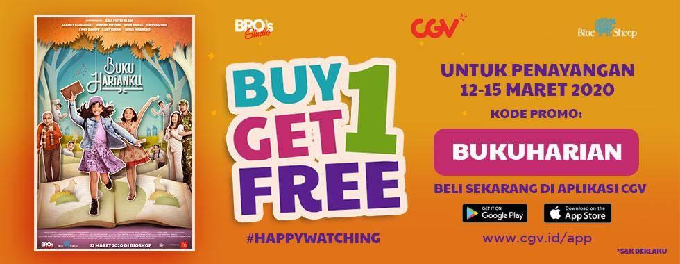 Diskon CGV Promo Buy 1 Get 1 Free Untuk Tiket Film Buku Harianku