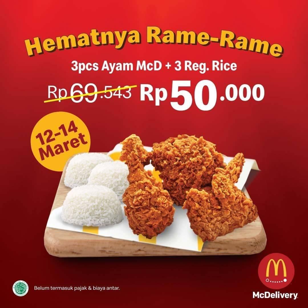 Diskon McDonalds Promo Mc Delivery, 3 Pcs Ayam + 3 Regular Rice Cuma Rp. 50.000