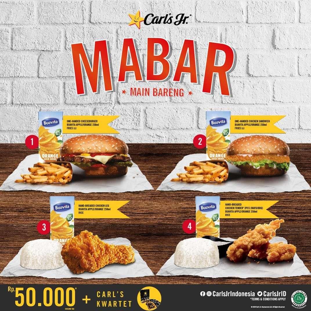 Carls Jr Promo Paket Main Bareng Cuma Rp. 50.000 + Gratis Carl's Kwartet