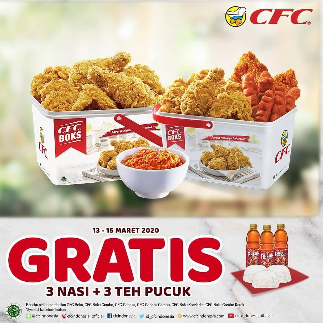CFC Promo Gratis 3 Nasi + 3 Teh Pucuk Setiap Pembelian Menu Boks