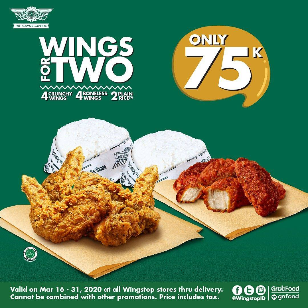 Wingstop Promo Wings For Two Only Rp. 75.000 & Wings For Share Only Rp. 90.000