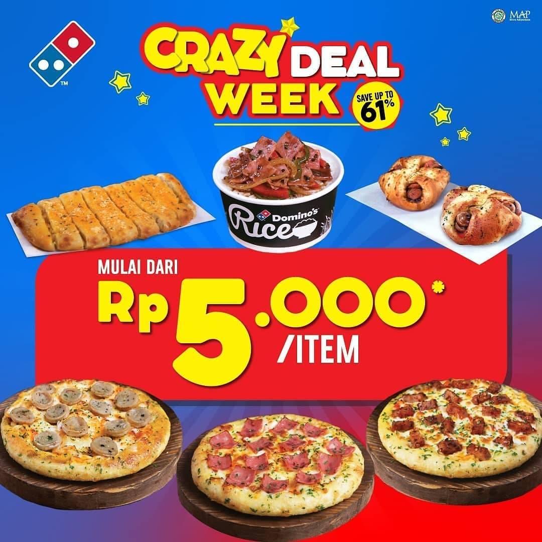 Diskon Domino's Pizza Promo Crazy Deal Week, Pizza & Side Pilihan Hanya Rp. 5.000/ Item