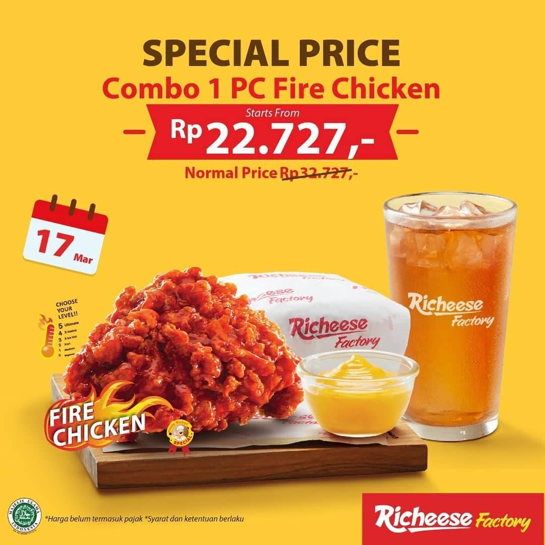 Richeese Factory Promo Combo 1 Pcs Fire Chicken Hanya Rp. 22.727,-