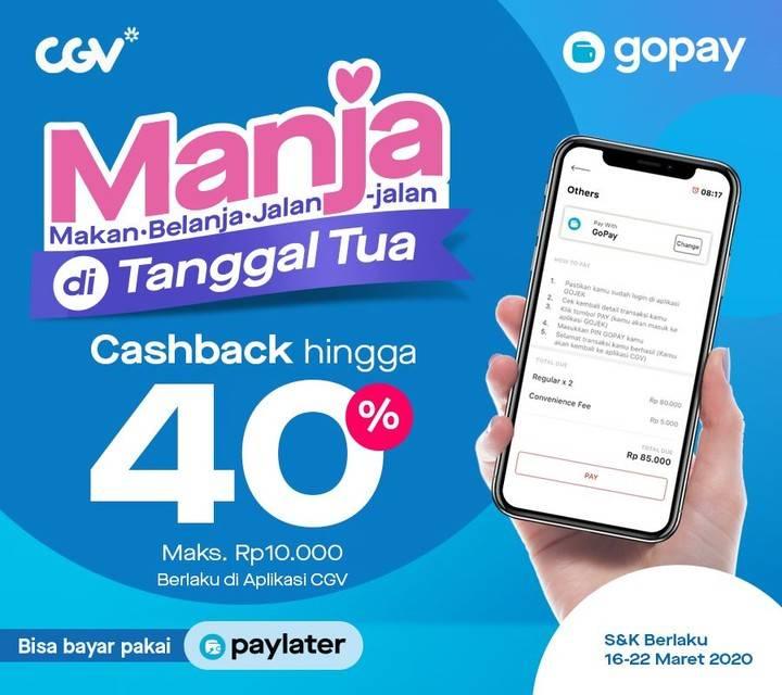 Gopay Promo Cashback 40% Setiap Pembelian Tiket Nonton Di Aplikasi CGV atau Gojek