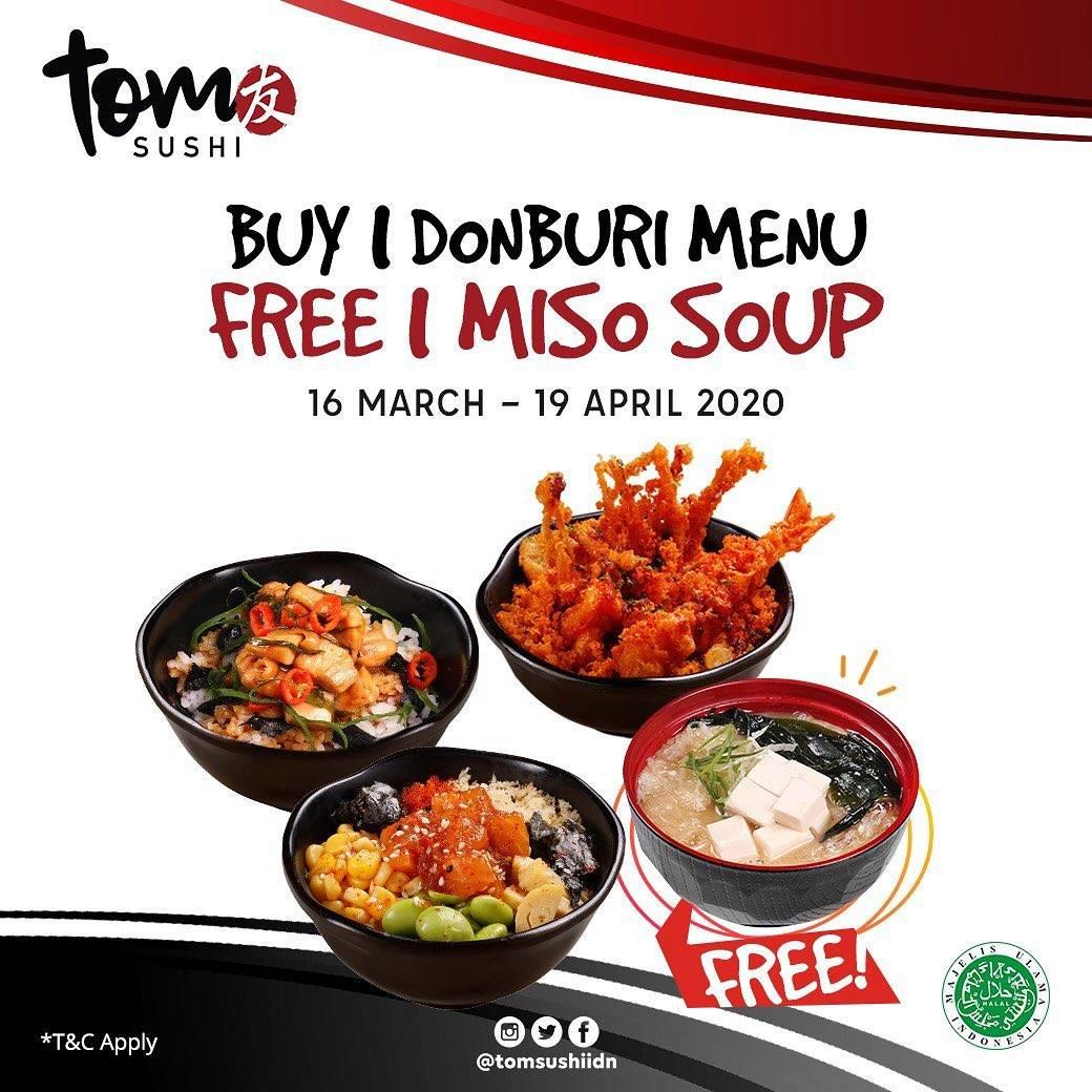 Tom Sushi Promo Buy 1 Donburi Menu Get 1 Free Miso Soup