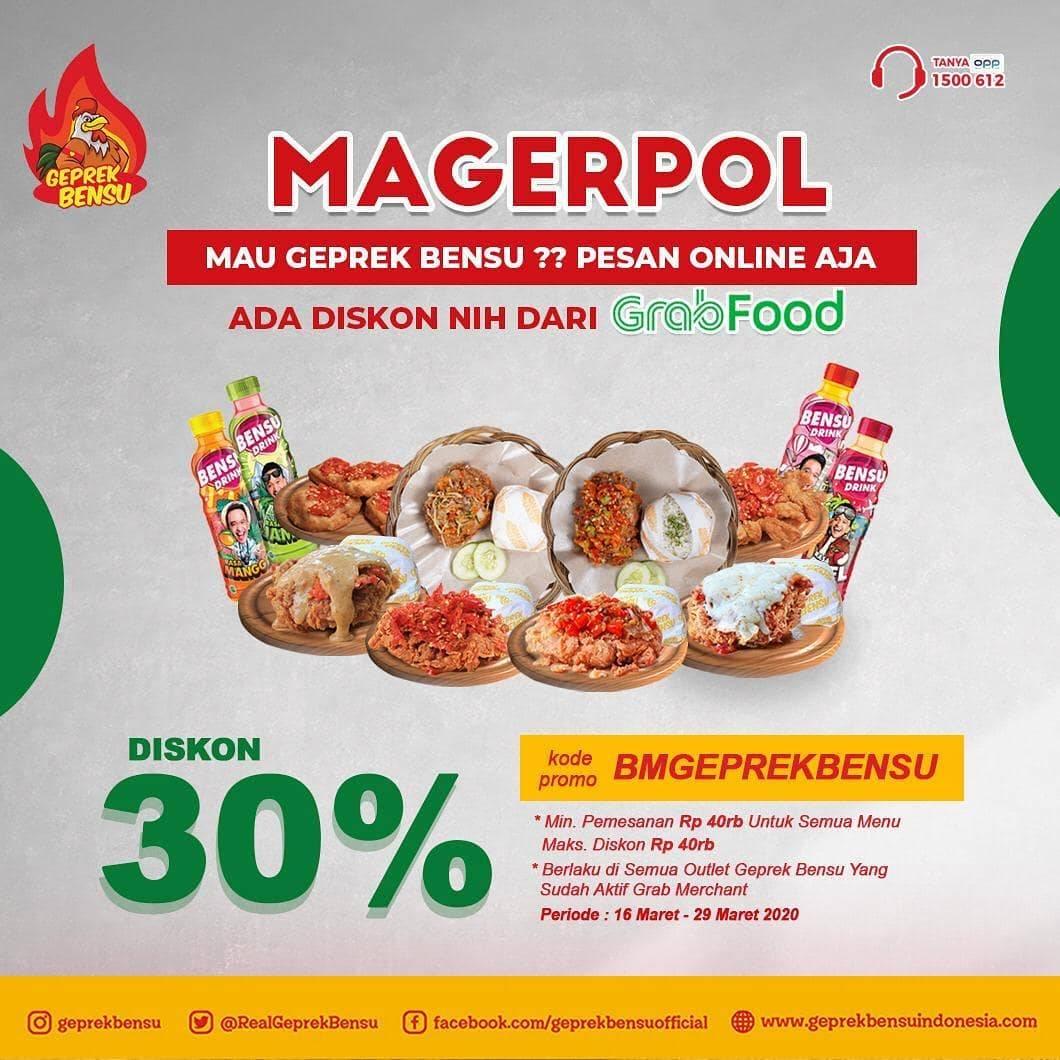 Geprek Bensu Promo Diskon 30% Pembelian Via Aplikasi Grabfood
