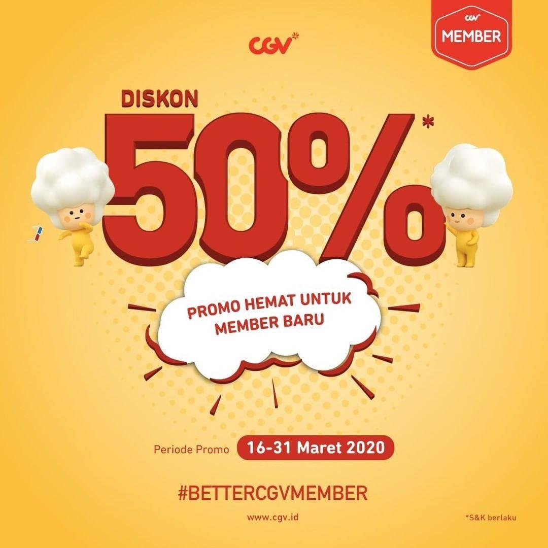 CGV Promo Diskon 50% & Beli 1 Gratis 1 Tiket Nonton Untuk Member Baru CGV