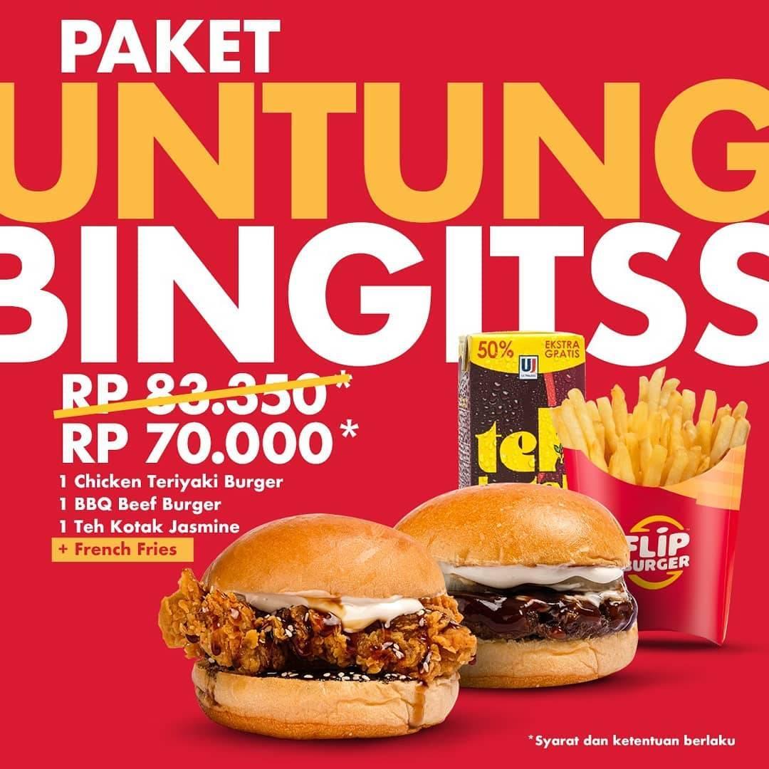 Flip Burger Promo Paket Untung Abis Cuma Rp. 70.000