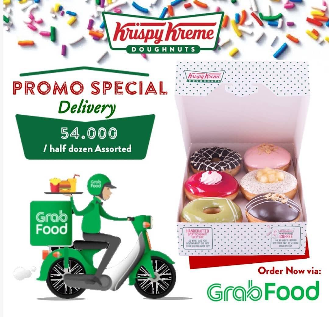 Diskon Krispy Kreme Promo Spesial Delivery Di Grabfood,  Half Dozen Assorted Hanya Rp. 54.000