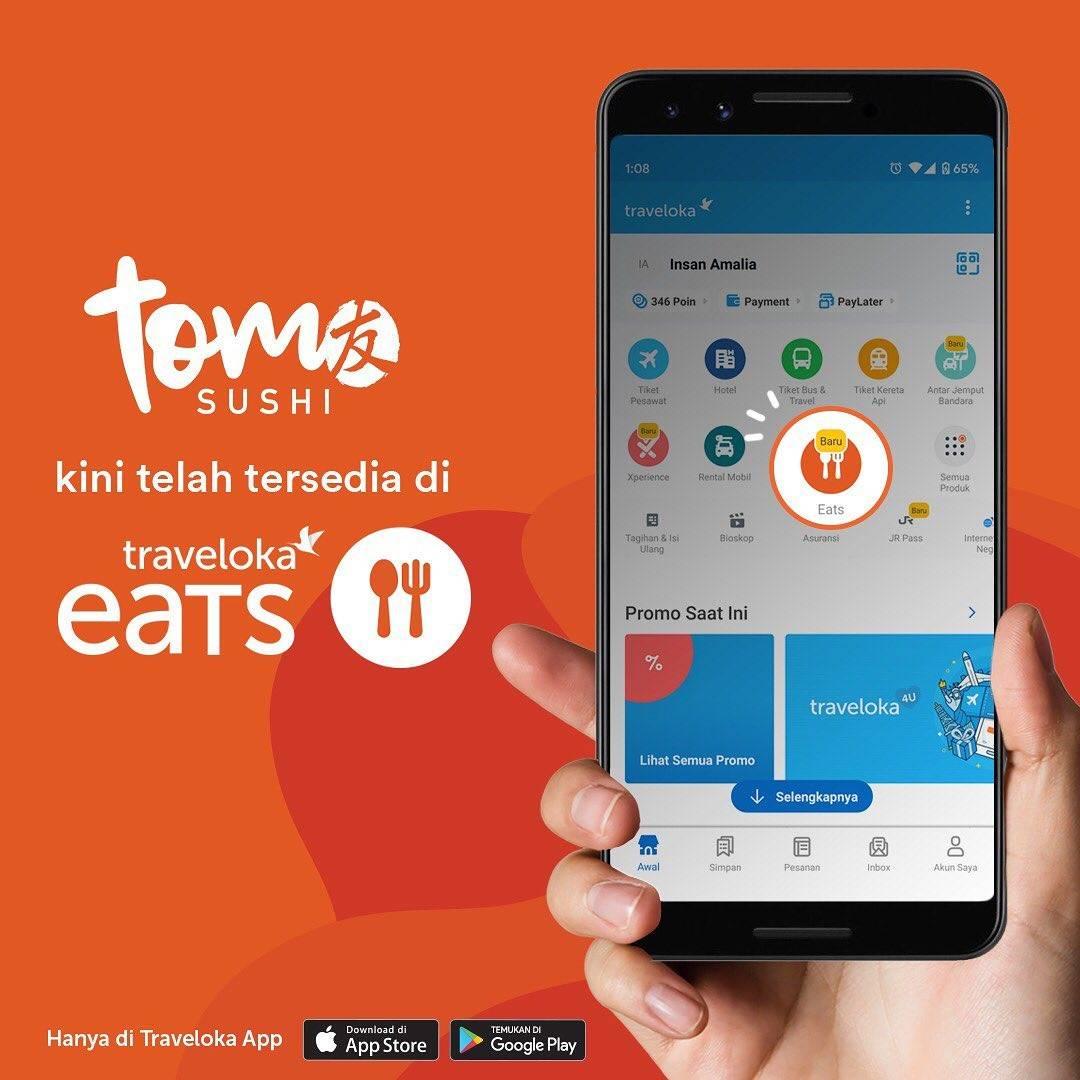 Tom Sushi Promo Spesial Traveloka Eats, Beli Menu Pilihan Cuma Rp. 75.000