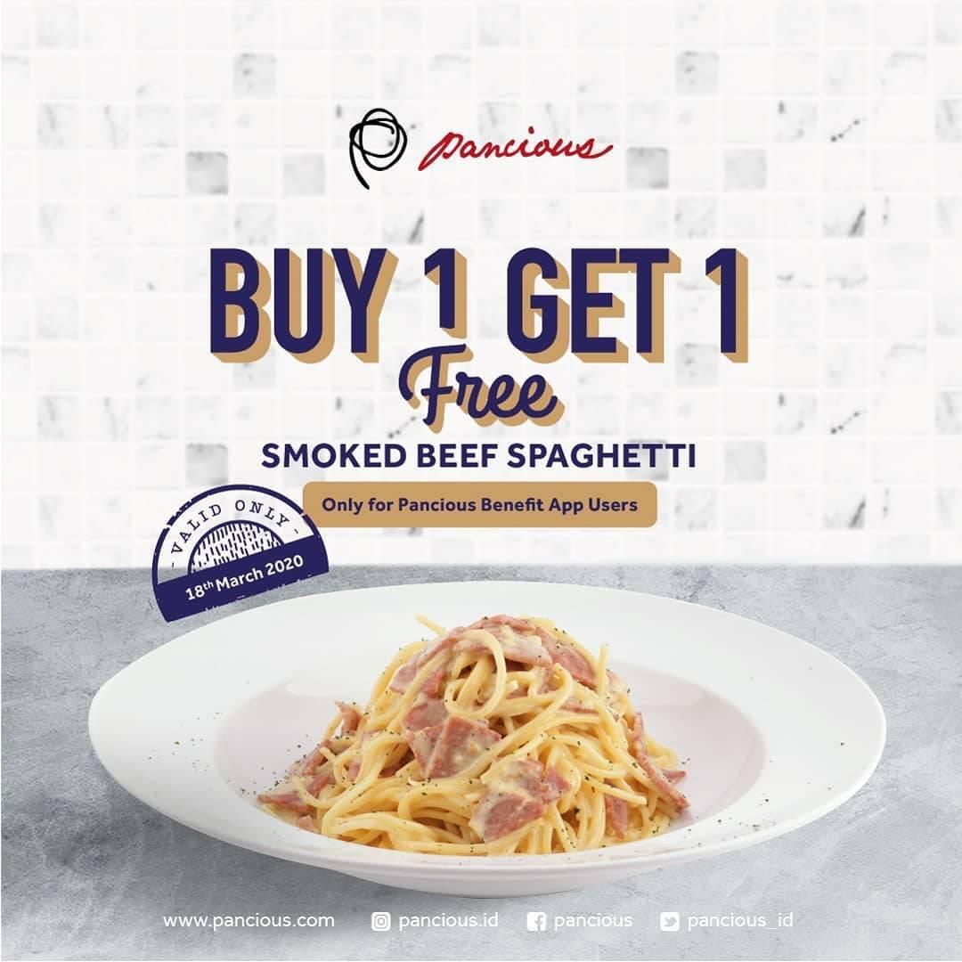 Pancious Promo Buy 1 Get 1 Free Smoked Beef Spaghetti