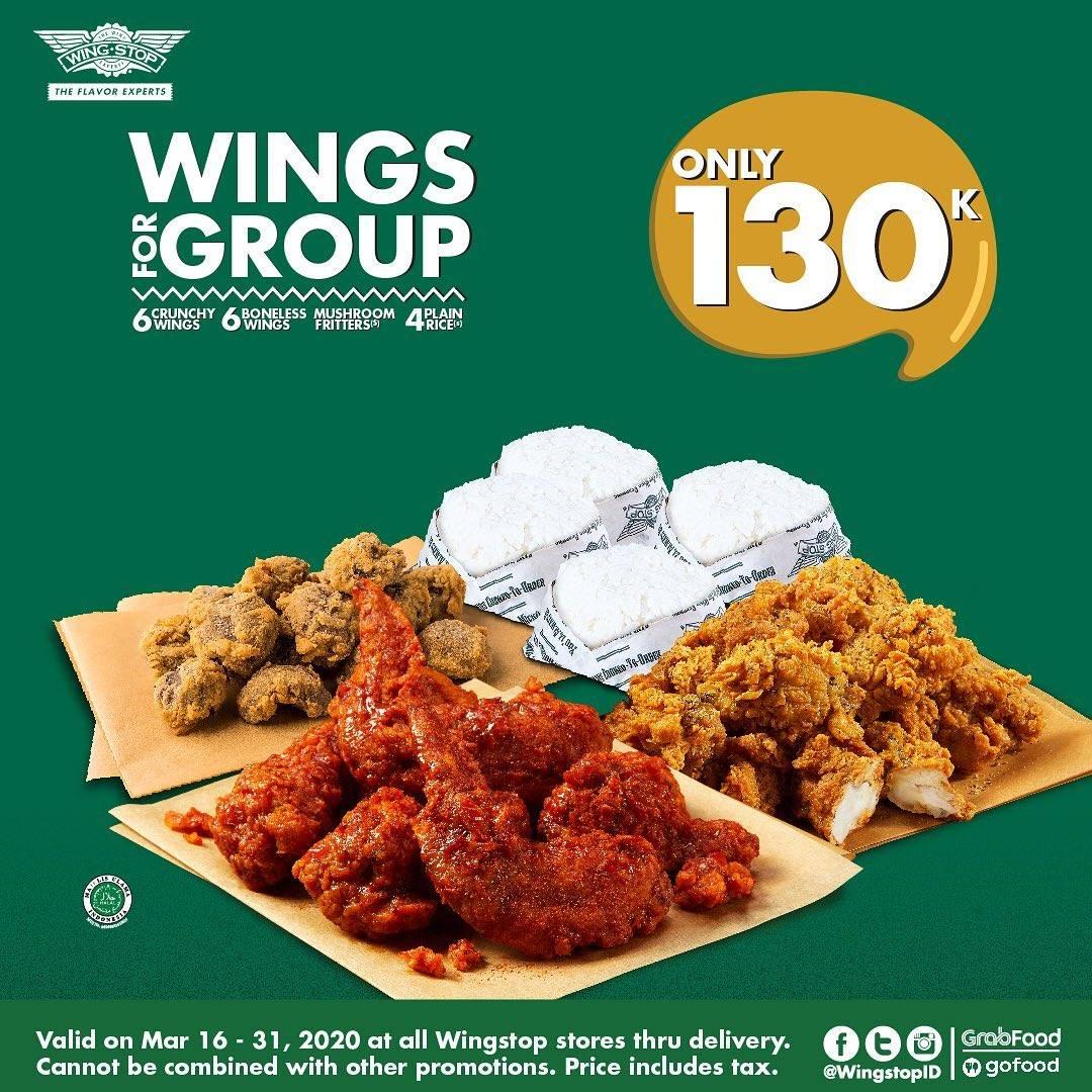 Diskon Wingstop Promo Wings For Group Hanya Rp. 130.000 Pemesanan Melalui Grabfood