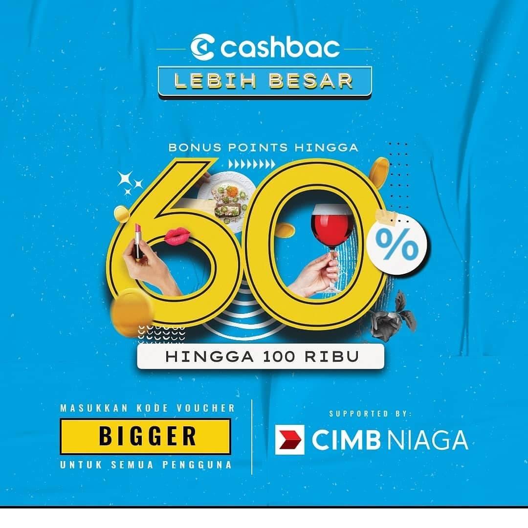 Cashbac Promo Bonus Points Hingga 60% Untuk Transaksi Di 60 Merchant Cashbac