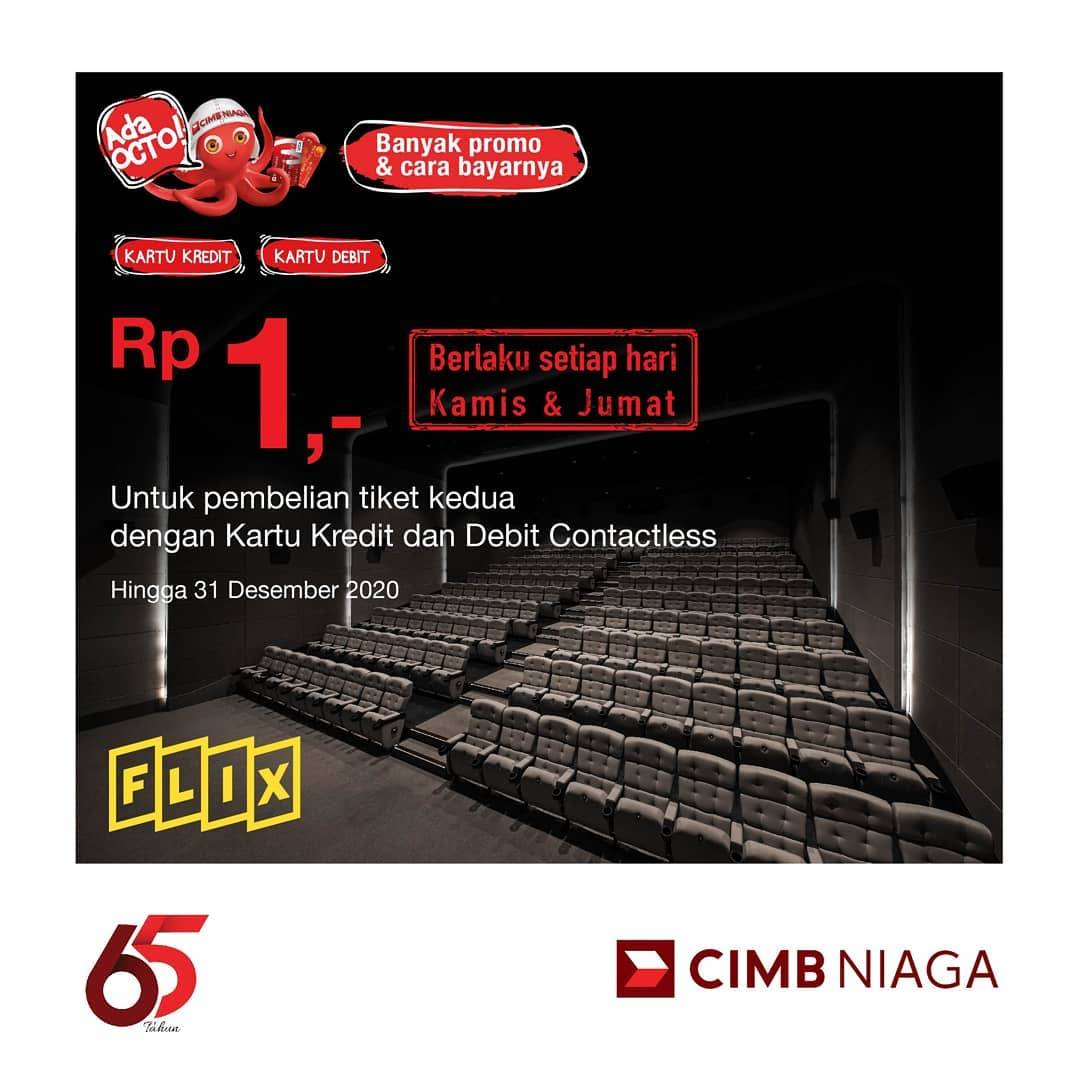 Flix Promo Tiket Kedua Hanya Rp. 1,- Pembayaran Dengan Kartu Kredit/ Debit CIMB Niaga
