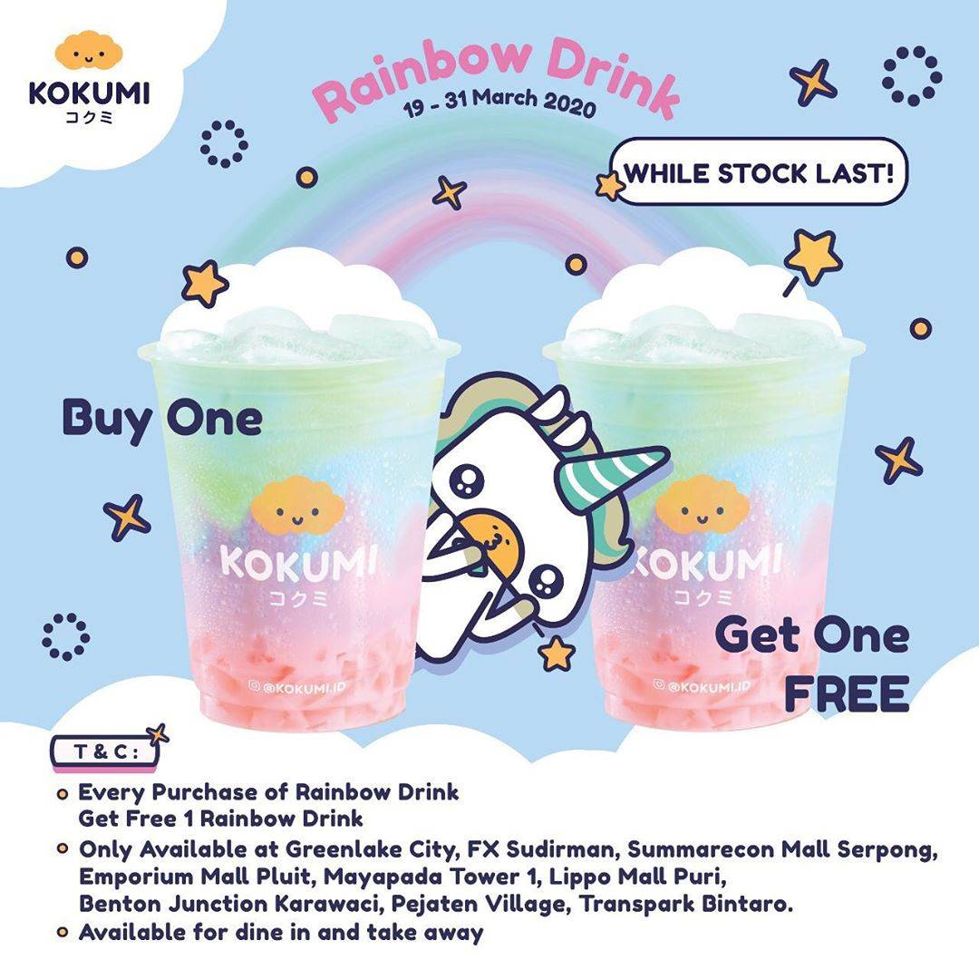 Kokumi Promo Buy 1 Get 1 For Rainbow Drink