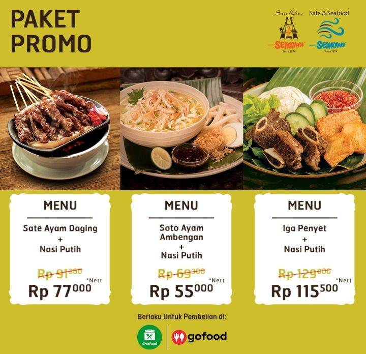 Sate Khas Senayan Promo Pesan Delivery Harga Mulai Dari Rp. 55.000 Di Gofood/Grabfood