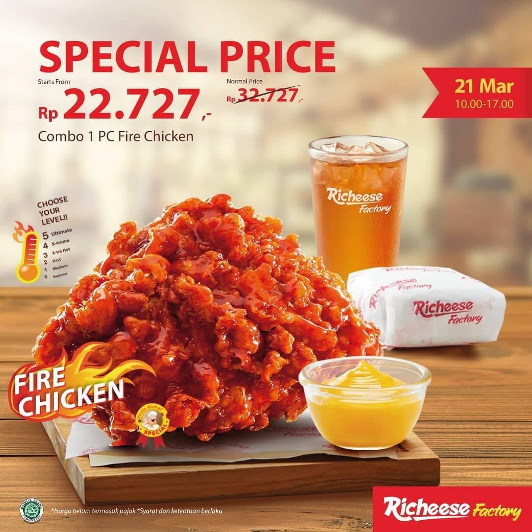 Diskon Richeese Factory Promo Harga Spesial Combo 1 PC Fire Chicken Hanya Rp. 22.727