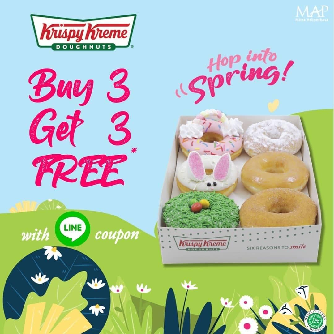 Krispy Kreme Promo Buy 3 Get 3 Free Doughnuts Menggunakan Kupon Line