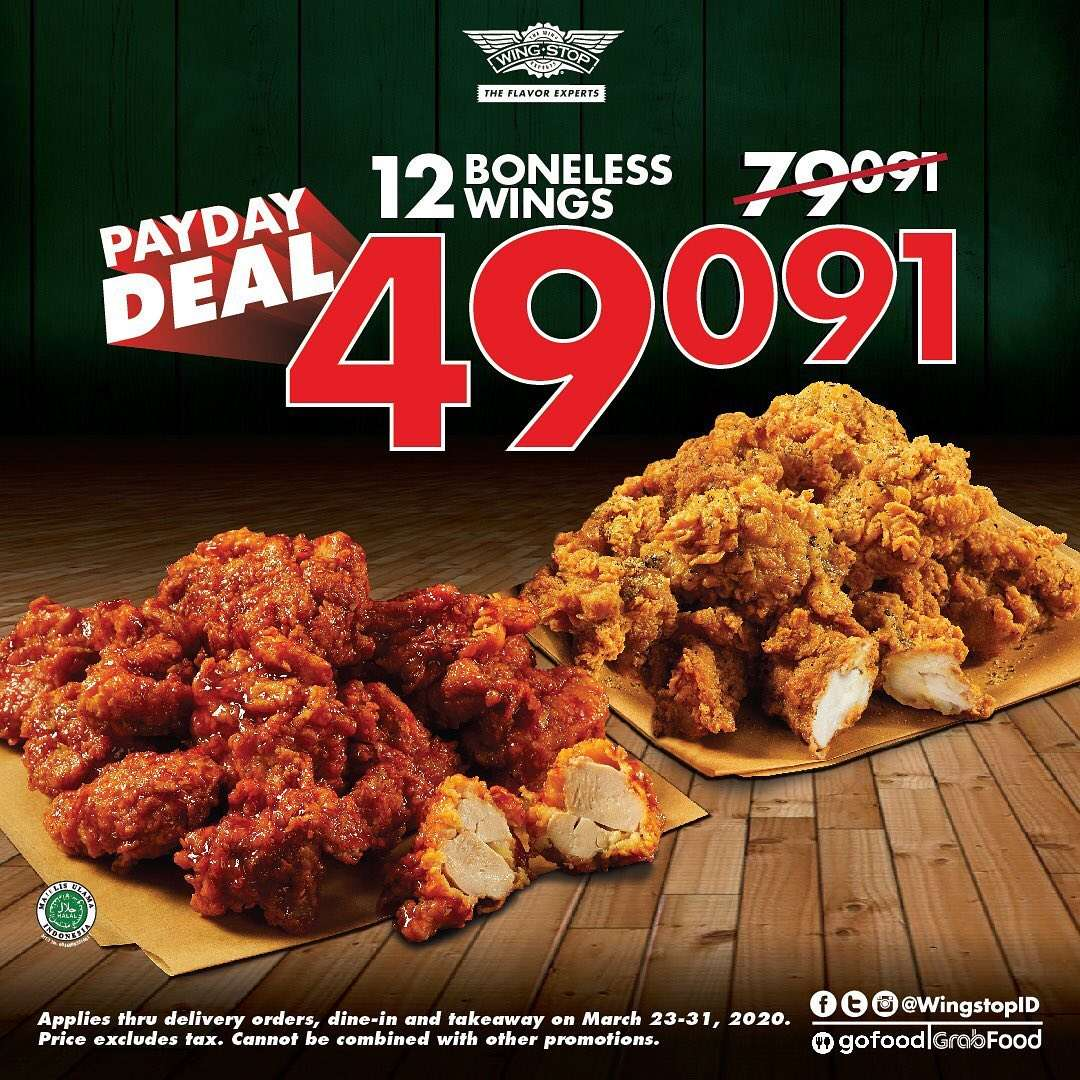 Wingstop Payday Deal, Beli 12 Boneless Wings Hanya Rp. 49.091