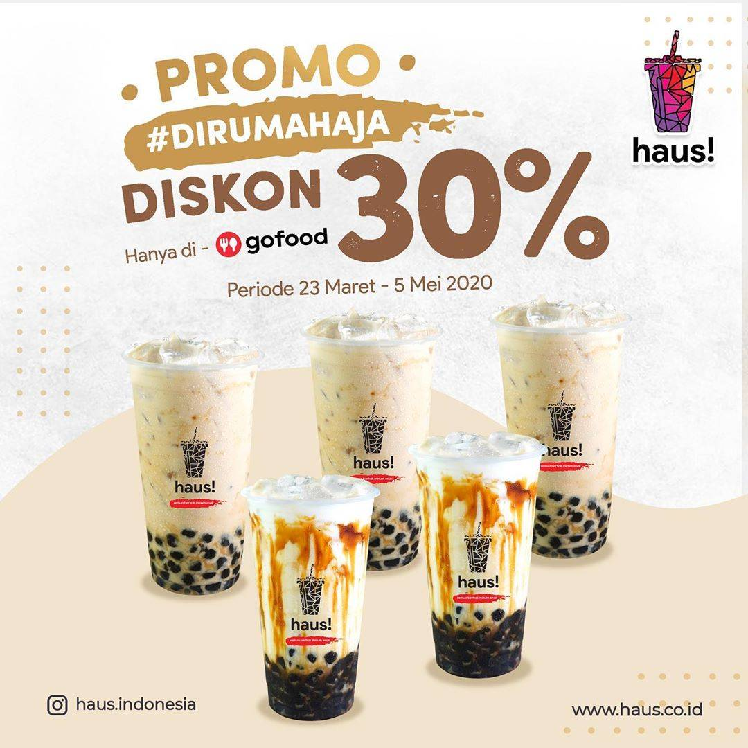 Haus! Promo Diskon 30% Untuk Minuman Pilihan Pembelian Via Gofood