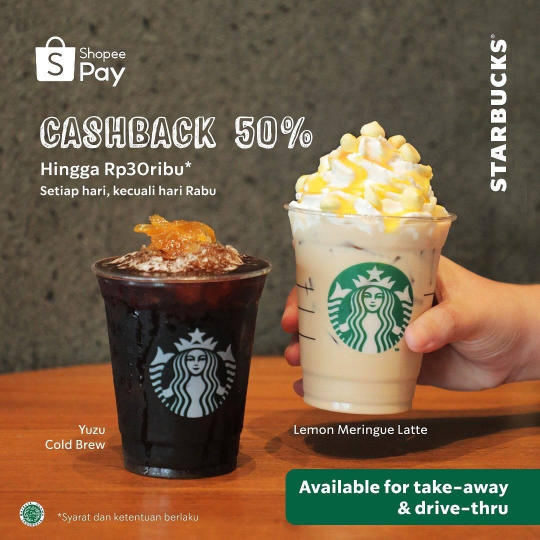 Starbucks Promo Cashback 50% Pembayaran Dengan ShopeePay