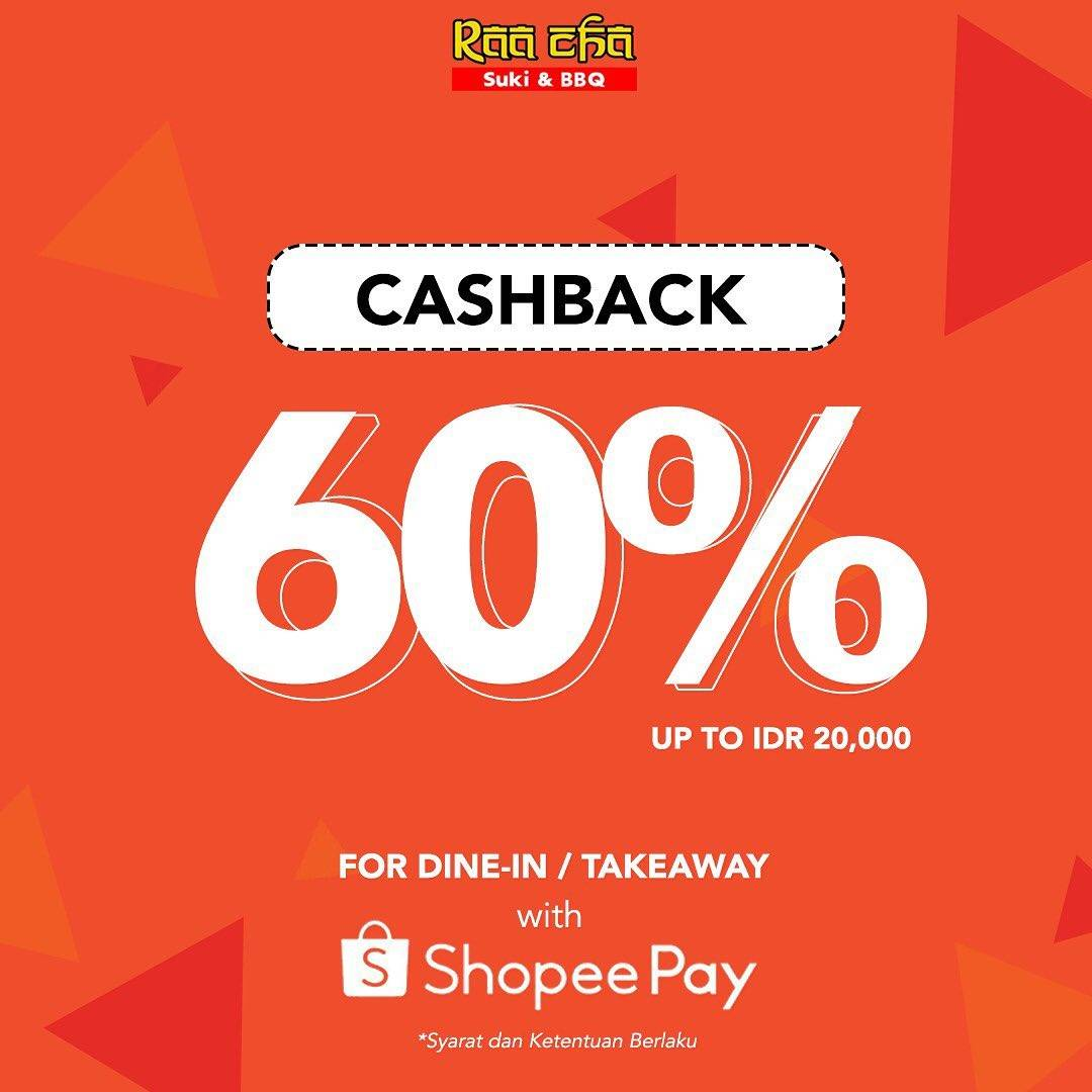 Raa Cha Suki & BBQ Promo Cashback 60% Pembayaran Via ShopeePay