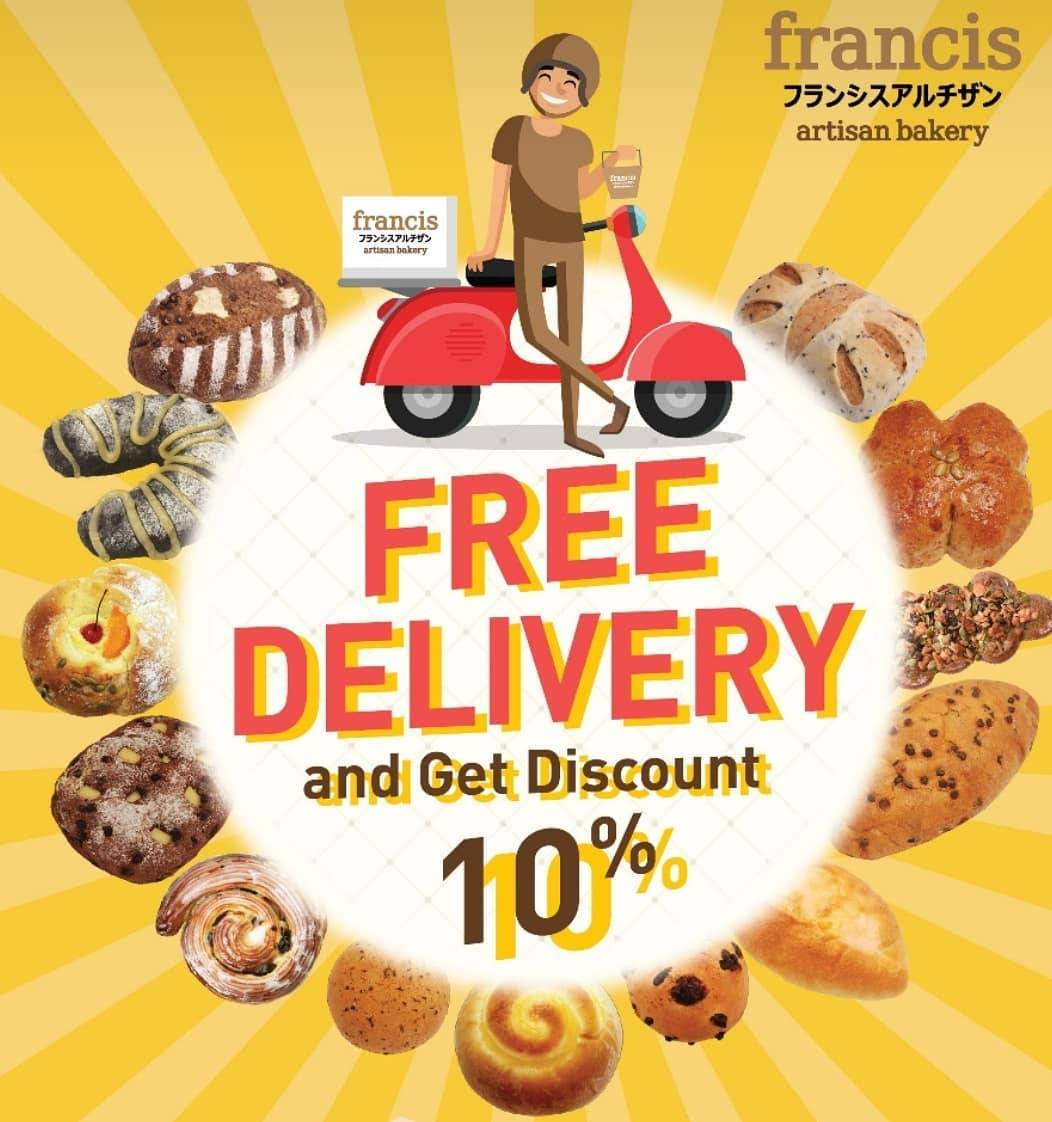 Francis Artisan Bakery Promo Free Delivery + Discount 10% Off