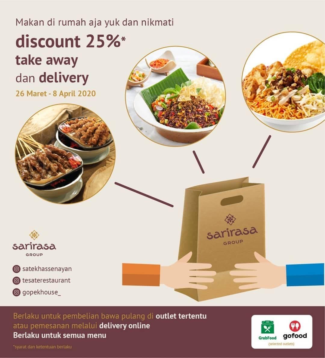 Sari Rasa Group Promo Diskon 25% Untuk Semua Menu Pemesanan Melalui GoFood & GrabFood