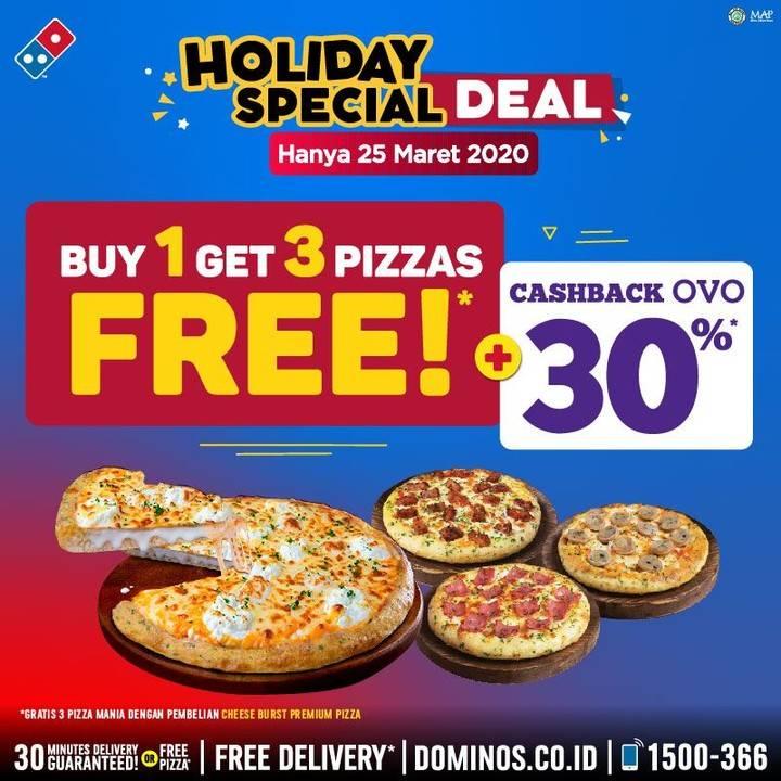 Domino's Pizza Promo Beli 1 Gratis 3 Pizza + Cashback 30% Dari OVO
