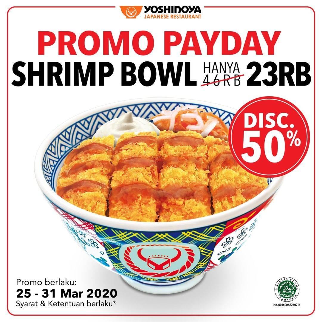 Yoshinoya Promo PayDay, Diskon 50% Untuk Menu Shrimp Bowl