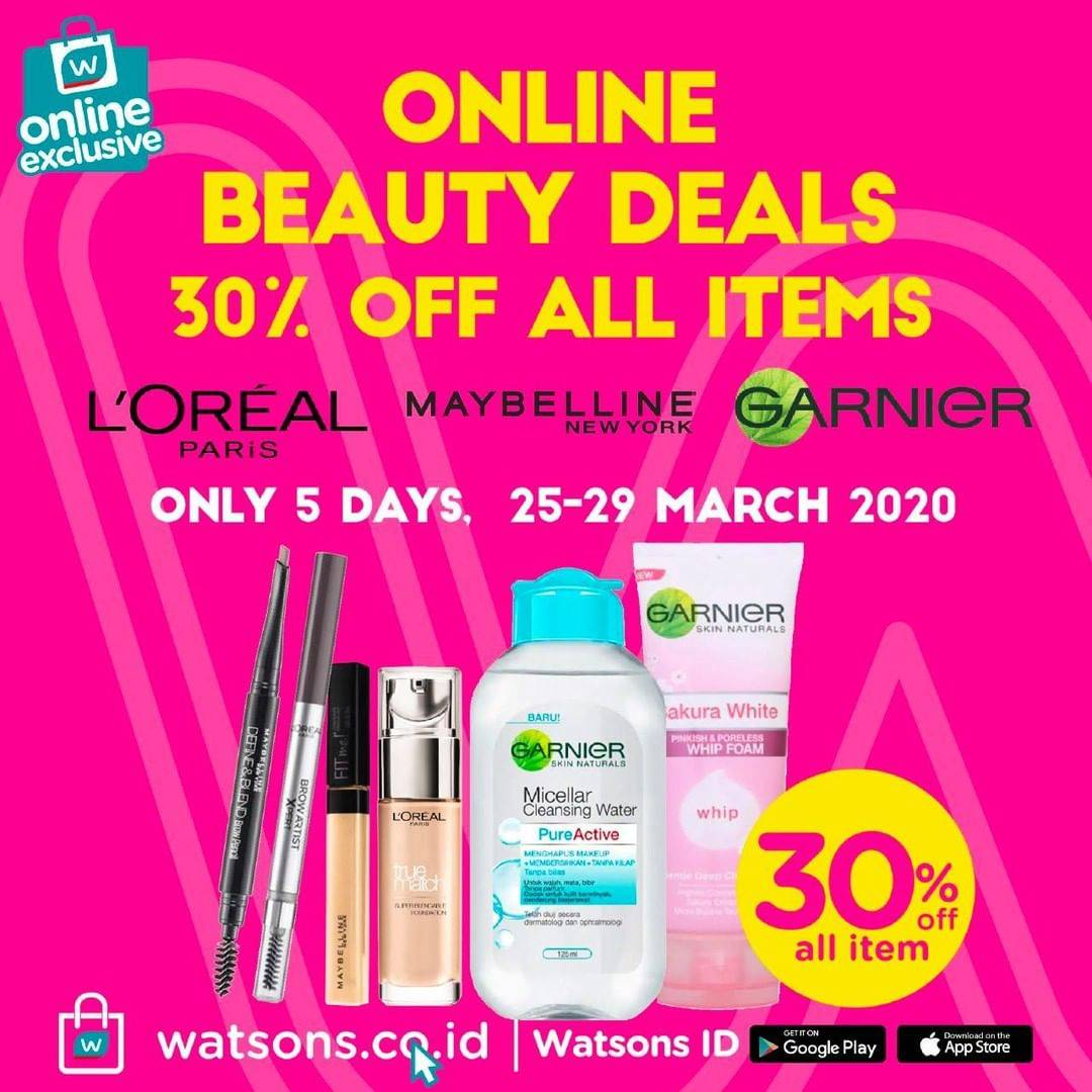 Watsons Promo Online Beauty Deals,  Discount 30% Off All Cosmetic Items