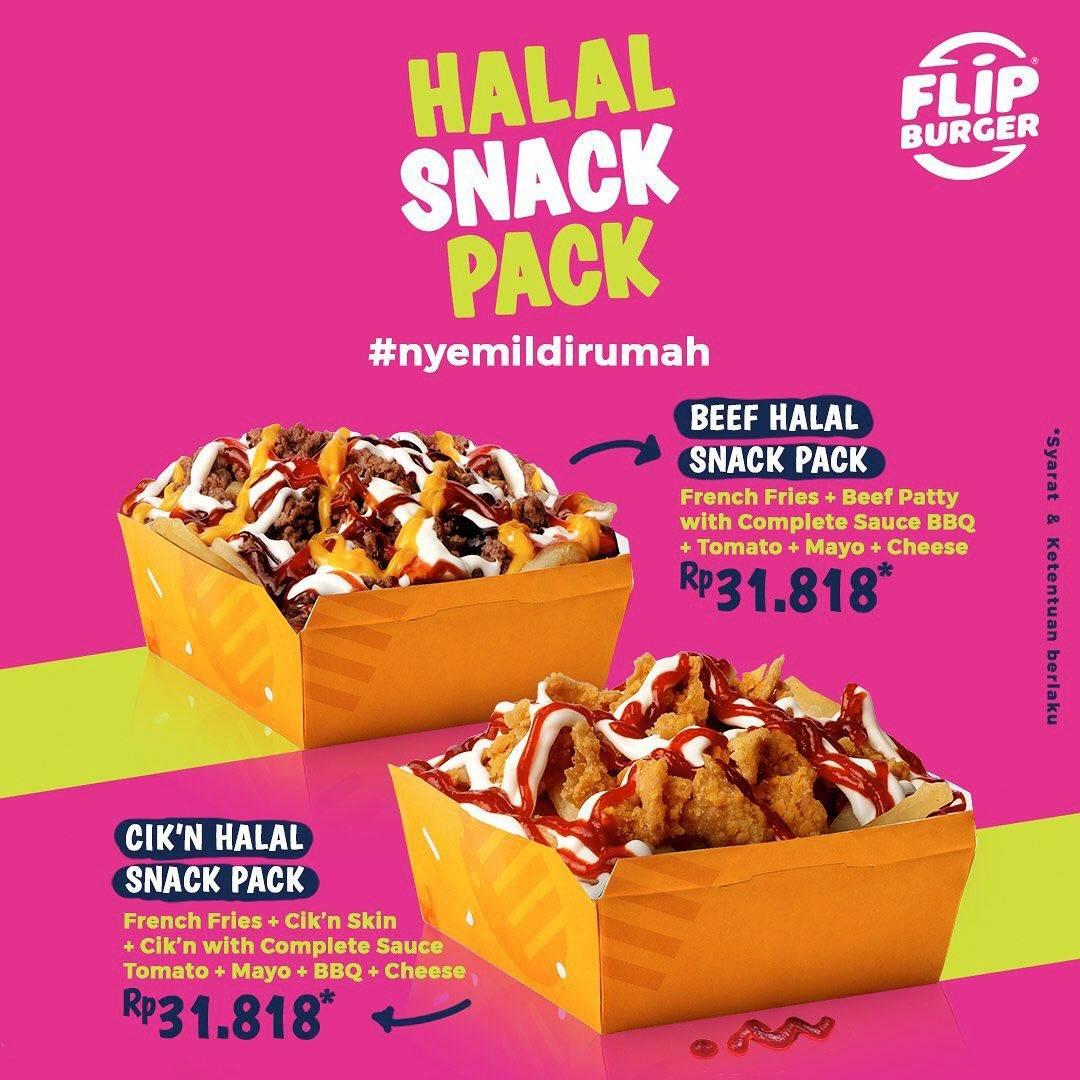 Diskon Flip Burger Promo New Menu Halal Snack Pack Hanya Rp. 31.818