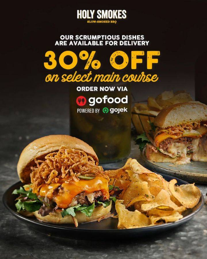 Holy Smokes Discount 30% Off On Select Main Course Order Via GoFood App