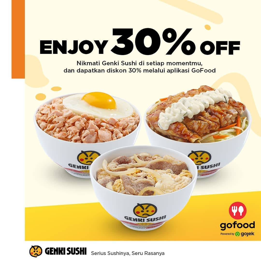 Genki Sushi Promo Diskon 30% Untuk Rice Bowl Pemesanan Melalui GoFood