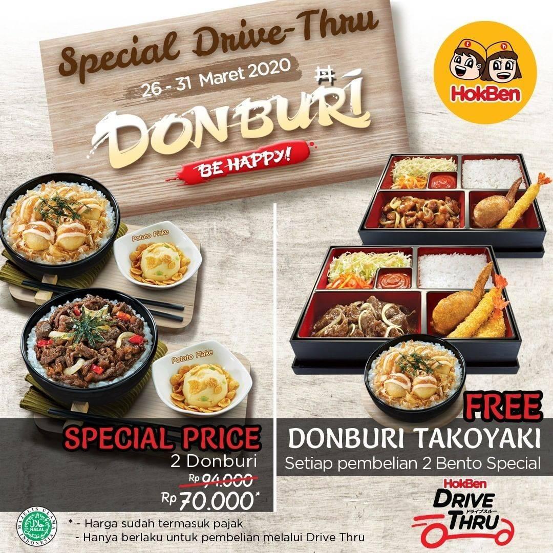 HokBen Promo Beli 2 Donburi Gratis Donburi Takoyaki Untuk Pembelian Drive Thru