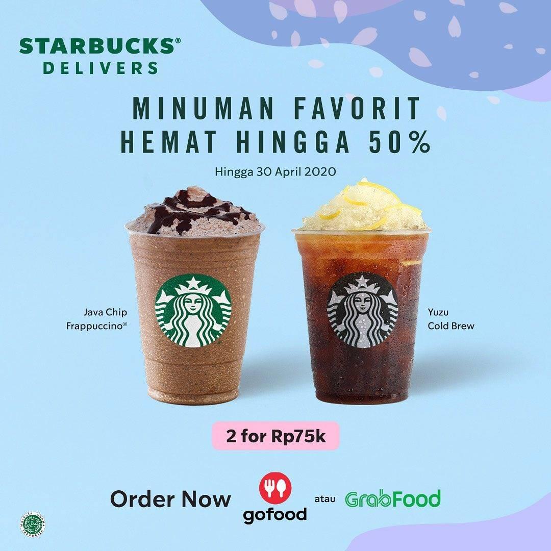 Starbucks Promo Diskon Hingga 50% Untuk Minuman Pemesanan Via GoFood & GrabFood